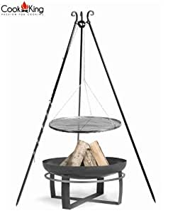 Cook King Black Steel Grate Grill w/Viking Fire Bowl and Tripod
