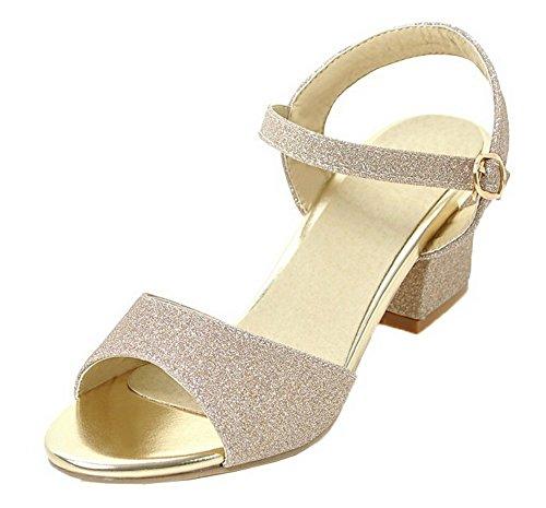 VogueZone009 Women Open-Toe Buckle Kitten-Heels Blend Materials Solid Sandals Gold