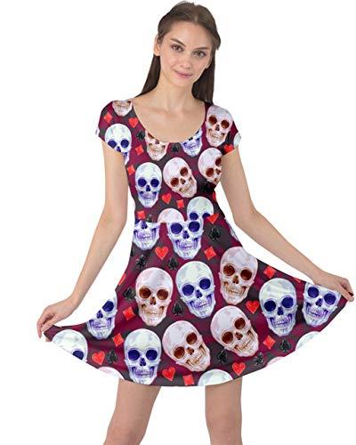 (CowCow Womens Skulls Spades Hearts Pink Cap Sleeve Dress - XL )
