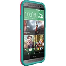 OtterBox Symmetry Series Case for HTC One (M8) - Retail Packaging - Teal Rose (Blaze Pink/Light Teal ) (Discontinued by Manufacturer)