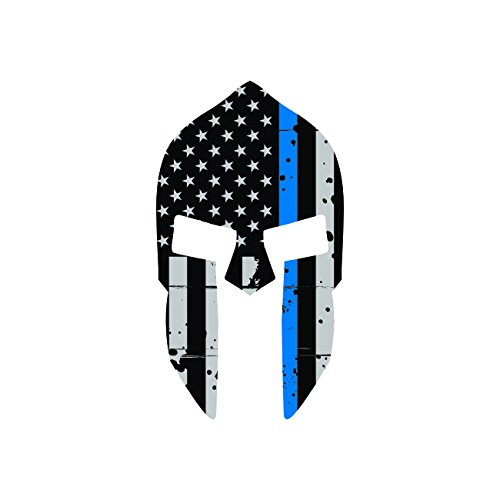 Tattered-Thin-Blue-Line-Subdued-Spartan-Helmet-American-Flag-Sticker-Self-Adhesive-Vinyl-Decal-FA-Graphix-Law-Police