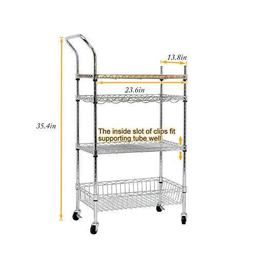 soges Premium Kitchen Rack with Solid Wood Cutting Board, Rolling Kitchen Storage Cart, Bar Serving Trolley Wine Rack, Moving Units for Home, Kitchen, Bathroom, Stainless Steel KS-ZSCS-04 by soges (Image #3)