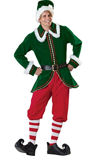 Cuteshower Mens Elf Christmas Santa Claus Costume Deluxe Set Cosplay Suit Clothing