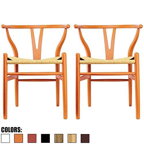 2xhome Set of 2 Orange Wishbone Wood Armchair with Arms Open Y Back Open Mid Century Modern Contemporary Office Chair Dining Chairs Woven Seat Brown Living Desk Office