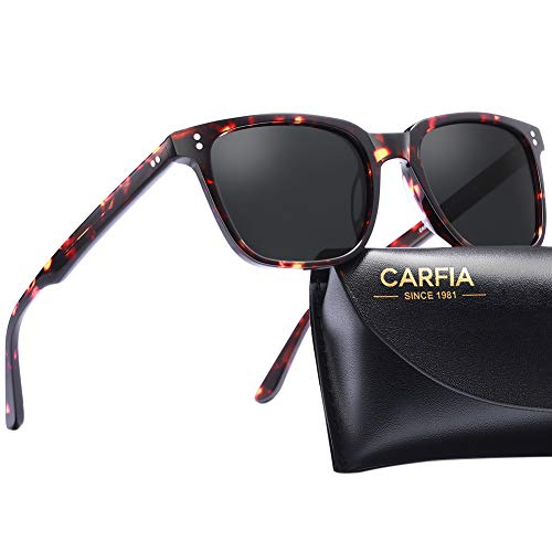 Carfia Chic Retro Polarized Sunglasses for Women & Men UV400 Protection Hand-Polished Acetate Frame