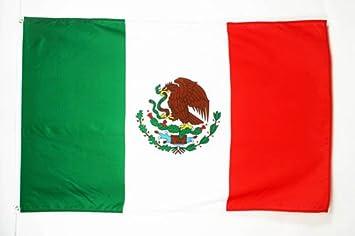 BANDERA de MÉXICO 150x90cm - BANDERA MEXICANA 90 x 150 cm poliéster ligero - AZ FLAG