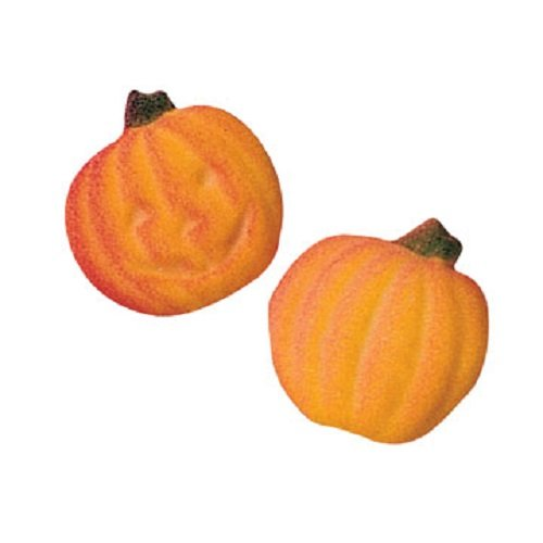 Lucks Dec-Ons Molded Sugar/Cup-Cake Topper, Small Pumpkins 1/2 with Face Assortment, 1 Inch, 12 -