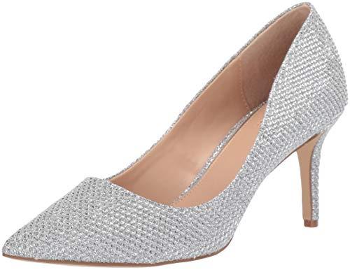 Jewel Badgley Mischka Women's RUDY Shoe, Silver Fabric, 8.5 M US