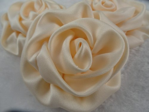 10pc Big Satin 75mm Ribbon Rose Flower Ivory Colors