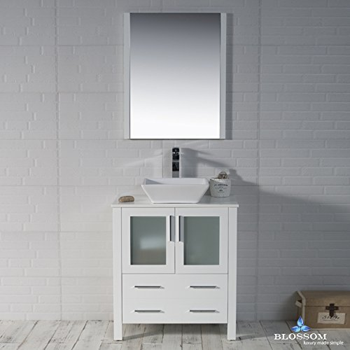 BLOSSOM 001-30-01-1616V Sydney 30'' Vanity Set with Vessel Sink and Mirror Glossy White by Blossom