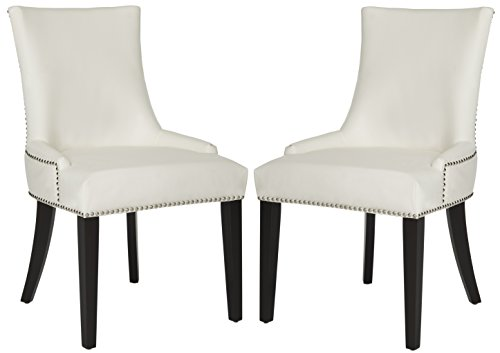 Safavieh Mercer Collection Lester White Leather and Espresso Dining Chair (Set of 2), Mint ()