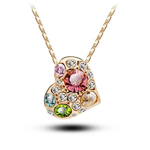 Moda Rhinestones Amor Corazón Colgante Collar Pendientes Joyería Set para regalo/diseño especial 2piezas Juego de joyería colorido Rhinestones Corazón colgante collar pendientes