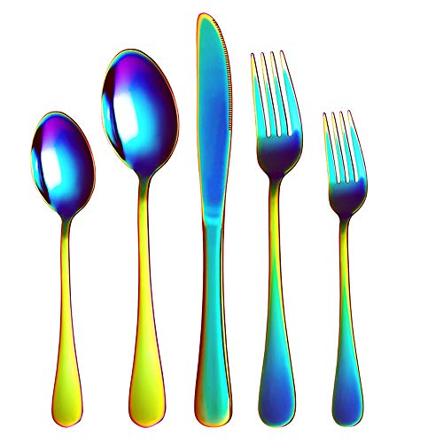 Rainbow Silverware - Stainless Steel Colorful Flatware Set, Bright Titanium Cutlery Set Tableware, 20 Pieces Kitchen Utensil Set Serve 4, -