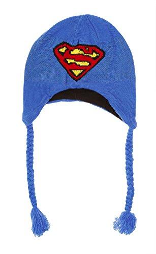DC Comics Superman Logo Knit Peruvian Laplander Beanie Hat