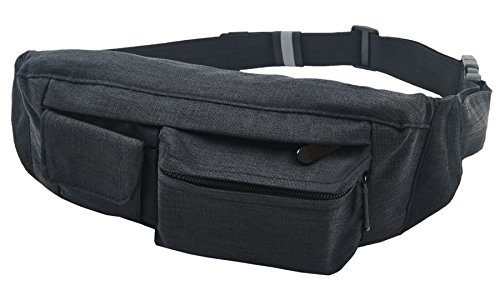 SoJourner 2-Pocket Black Fanny Pack Hip Bag - fits men, wome