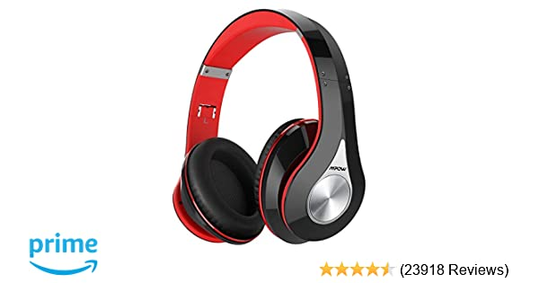 Mpow 059 Bluetooth Headphones Over Ear, Hi-Fi Stereo Wireless Headset,  Foldable, Soft Memory-Protein Earmuffs, w/Built-in Mic Wired Mode PC/Cell