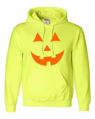 XXXX-Large Safety Green Adult Jack O Lantern Pumpkin Face Halloween Funny Sweatshirt (Halloween Safety Funny)