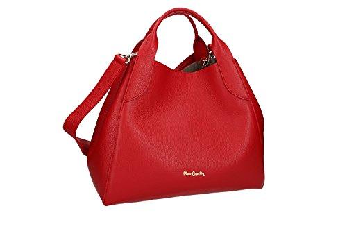 Bolsa mujer de mano bandolera PIERRE CARDIN rojo cuero Made in Italy VN1457