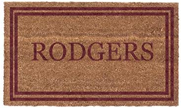 Coco Mats N More Red Double Bordered Personalized Coco Doormat 18 x 30 with Vinyl Backing