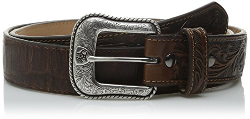 Ariat Men's Side Overlay Circle Concho Western Belt, Brown, 42