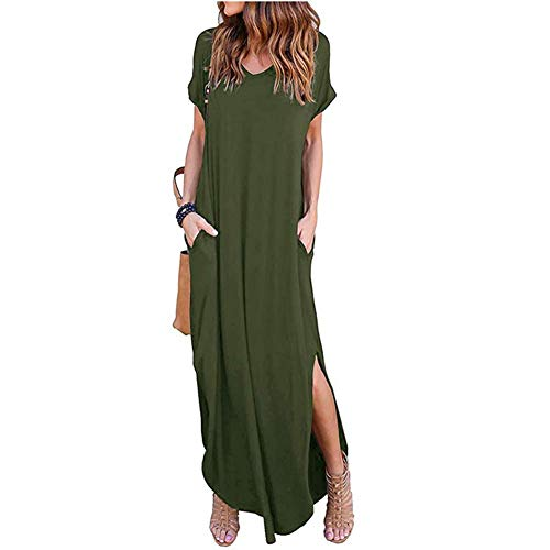 Loose Plain Maxi Dresses Women's Short Sleeve Casual Long Dresses with Pockets Army Green ()