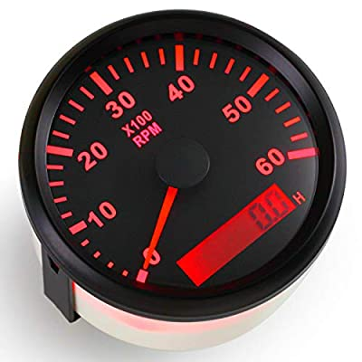 ELING Tachometer RPM Tacho Gauge with Hour Meter for Car Truck Boat Yacht 0-6000RPM 85mm with Backlight: Automotive
