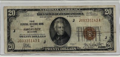 National Bank Currency - Scarce -- 1929 -- $20 National Currency -- Federal Reserve Bank of Kansas City