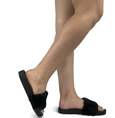 Flat Women's On Comfort Wells Willow Collection Soft Slip Black Sandal Slides a4PHgwq0