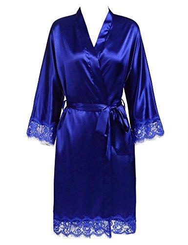 MAXMODA Women's Lace-trimmed Satin Short Kimono Robe Bathrobe Loungewear Royal Blue XXL