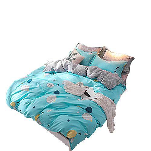 Bingo Apple, bluee King 86 x94  KFZ Bed Set Bedding Set Duvet Cover Set Bed Flat Sheet Pillow Covers No Comforter Twin Full Queen King Sheets Set ZL Bear Bingo Apple Lavender Design 4pcs (Cactus Star, Pink, King 86 x94 )