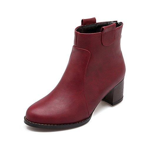 AgooLar Damen PU Hoher Absatz Spitz Zehe Stiefel, Rot, 33