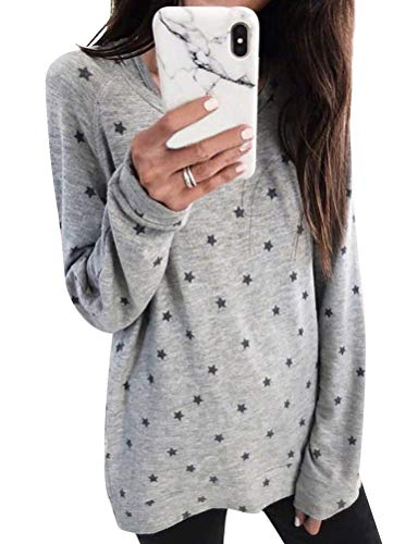 WLLW Women Round Neck Five-Pointed Star Printed Casual Bottoming Blouses Tops