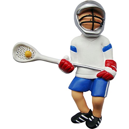 Personalized Lacrosse Boy Christmas Tree Ornament 2019 - Man Athlete in White Uniform Helmet Stick Ball Male Coach Hobby High School Catcher Shooter Profession - Free Customization (Player Christmas Lacrosse Ornament)