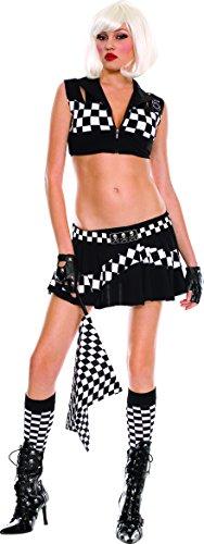 Music Legs Women's Race Car Cutie, Black/White, Medium/Large