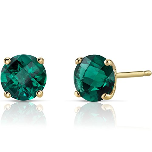 14K Yellow Gold Round Cut 1.50 Carats Created Emerald Stud Earrings ()