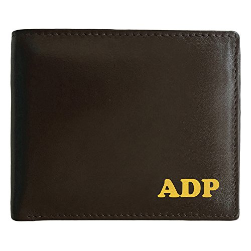 Personalized RFID Blocking Brown Leather Bifold Men's Wallet With ID Window