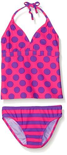 Dot Pink Tankini (Freestyle Girls' Big Tankini Dot Two Piece Swimsuit, Pink, 14)
