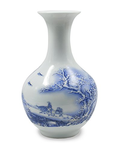 Dahlia Snowy Day Blue and White Oriental Porcelain Flower Vase, 9 Inch Chinese Bottle Shaped