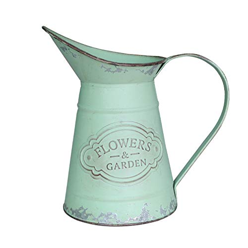 SHINGONE French Rustic Style Small Metal Vase Shabby Chic Pitcher Jug Flower Vase for Home Decoration (Flowers For Jugs Metal)