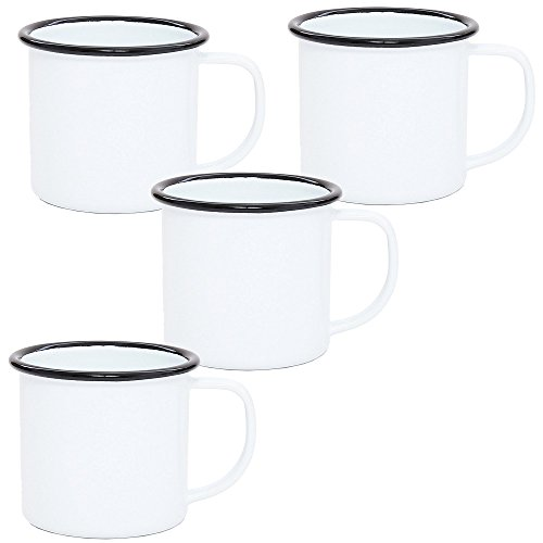 Enamelware Set of 4 -Child's Small Mug - Solid White with Black Trim - 8 Ounce ()