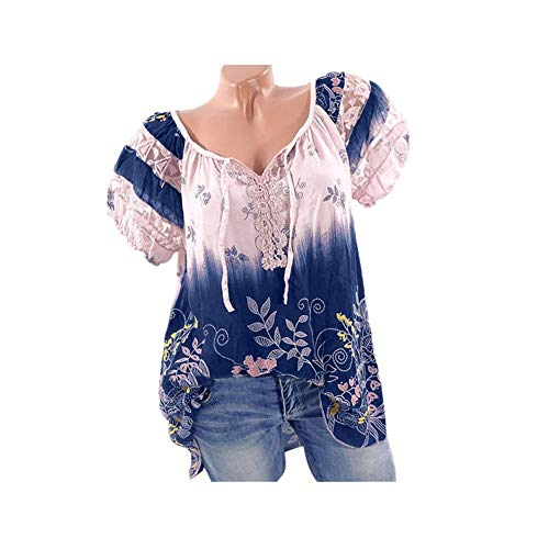 Women Short Sleeve V-Neck Lace Printed Lace Tops Loose T-Shirt Blouse(5XL, -