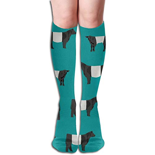- Women's Fancy Design Stocking Belted Galloway, Belted Galloway Cow, Cow, Cattle, Farm Blue Multi Colorful Patterned Knee High Socks 50cm(19.6Inchs)