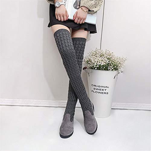 De Gray Plano Rodilleras Delgada Botas Calcetería Mujer Fondo Elástica Botas Medias Largas Zapatos fIa7w1q
