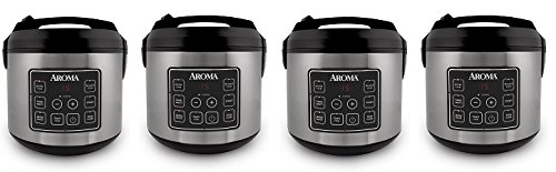Aroma Housewares 20 Cup Cooked (10 cup uncooked) Digital Rice Cooker, Slow Cooker, Food Steamer, SS Exterior (ARC-150SB) (4-(Pack))