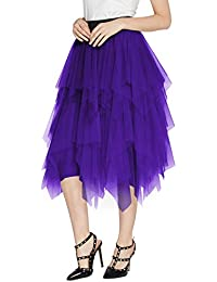 Women's Sheer Tutu Skirt Tulle Mesh Layered Midi Skirt
