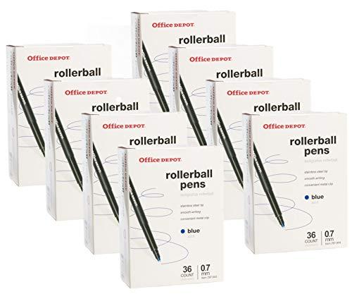 Office Depot (288 Pack) Rollerball Pens.07mm Fine Point Pens, Ink Blue Pens Bulk for Office Supplies, School Supplies, Teacher -