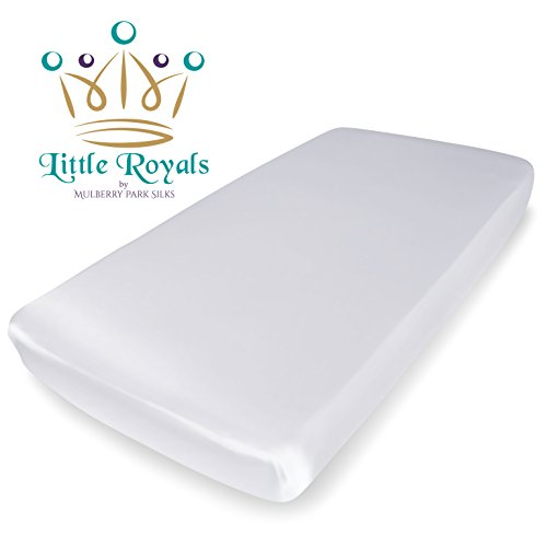 Little Royals – 100% Pure Charmeuse Silk – Fitted Crib Sheet – Natural White ( ...