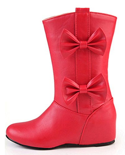 Heels Boots IDIFU Red Womens Elevator Booties Mid Bow With Wedge Riding Mid Dressy Calf RRIHqfg