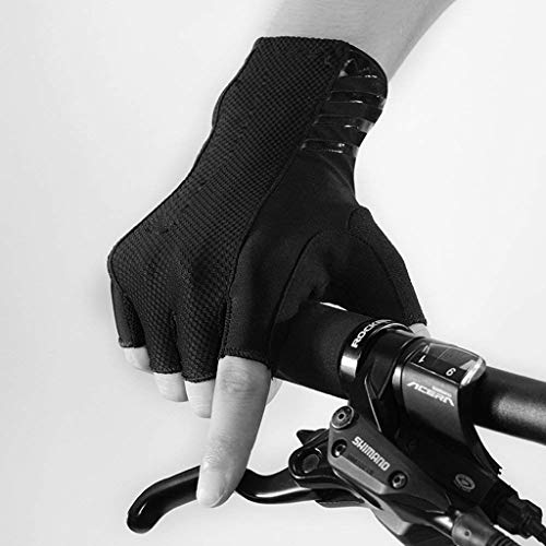 ASdf Mountain Road Bike Bicycle Riding Gloves Half Finger Lengthening Wrist Summer Men and Women Sports Fitness Gloves (Color : Black, Size : S)