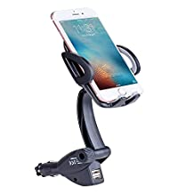 Car Charger Mount Car Mount Cell Phone Holder Stand Car Mount Holder with Dual USB 3.1A Car Charger Adapter for iPhone 7 7Plus 6S 6 5S Samsung S8 S8Plus S7 S6edge MP5 GPS